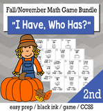 "November Thanksgiving 2nd  Grade ""I Have, Who Has"" Math Game Bundle"