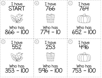 "November Thanksgiving 2nd  Grade ""I Have, Who Has"" Math Game Bundle"