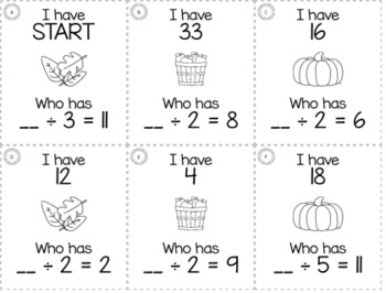 "November Thanksgiving 3rd  Grade ""I Have, Who Has"" Math Game Bundle"