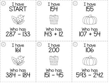 "November Thanksgiving 3rd  Grade ""I Have, Who Has"" Math Game Bundle"