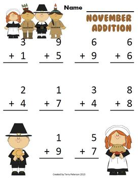 November Thanksgiving Addition & Subtraction Facts Worksheets or with Projector