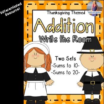 November/Thanksgiving Math: Addition Write the Room!