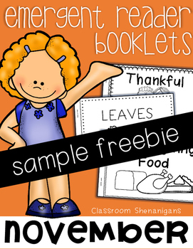 November (Thanksgiving) Books for Emergent Readers FREEBIE