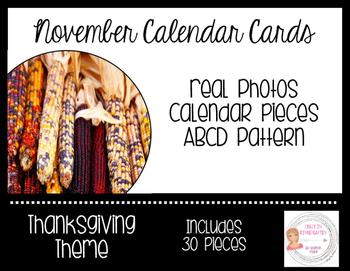 November Thanksgiving Calendar Cards-Real Photos