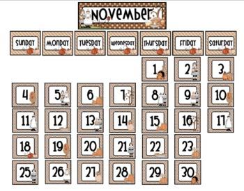 November Thanksgiving Calendar Wall Cards Set