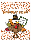 November, Thanksgiving Classroom Activities