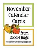 November / Thanksgiving *FREE* Calendar Cards