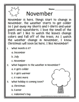 November/Thanksgiving FREEBIE!!! Reading comprehension, writing prompt