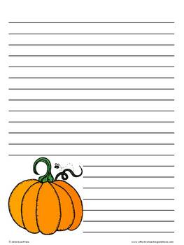 November Thanksgiving Fall Lined Writing Paper