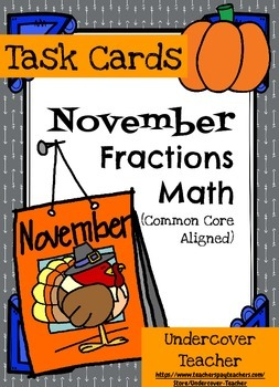 November Thanksgiving Fall Math Fractions -  80 Task Cards {Stations}