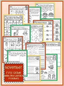 November Thanksgiving First Grade Math and Literacy NO PREP Common Core Aligned