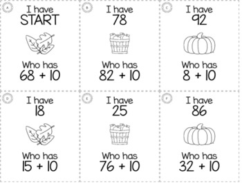 "November Thanksgiving Kindergarten ""I Have, Who Has"" Math Game Bundle"