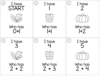 "November Thanksgiving Kindergarten ""I Have, Who Has"" Math Game Bundle"