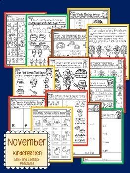 November Thanksgiving Kindergarten Math and Literacy NO PREP Common Core Aligned