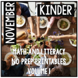 November Thanksgiving Kindergarten Math and Literacy NO PREP Common Core Aligned