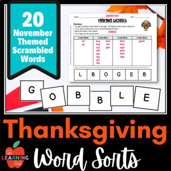 November & Thanksgiving MAKING WORDS sorts, holiday fun!