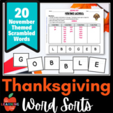 DISTANCE LEARNING November & Thanksgiving MAKING WORDS sor