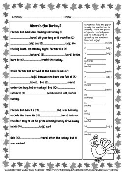 November Thanksgiving Mad-Libs Style - Stories Parts of Speech