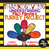 November Thanksgiving Math Fact Family Turkey Craft Bulletin Board Display