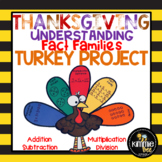 November Thanksgiving Math Fact Family Turkey Craft Bullet