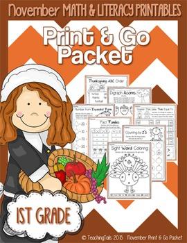 November (Thanksgiving) PRINT and GO Packet [1st Grade]