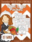 November (Thanksgiving) PRINT and GO Packet [1st Grade]