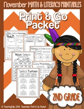 November (Thanksgiving) PRINT and GO Packet [2nd Grade]