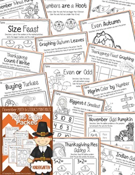 November (Thanksgiving) PRINT and GO Packet [Kindergarten]