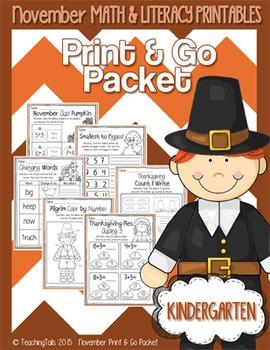 November (Thanksgiving) PRINT and GO Packet [Kindergarten]