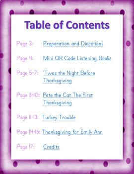 November: Thanksgiving QR Code Listening Center w/ Comprehension
