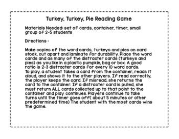 November Thanksgiving Reading Game