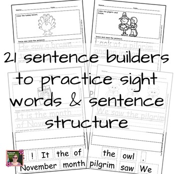 November Fall Sentence Builders {Centers, Morning/Word Work, & Daily 5 }