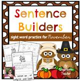 November Fall Sentence Builders {Centers, Morning/Word Wor