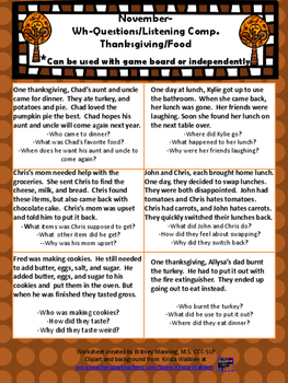 November/Thanksgiving Speech Theme - Problem Solving and Wh-questions