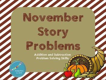 November/ Thanksgiving Story Problems