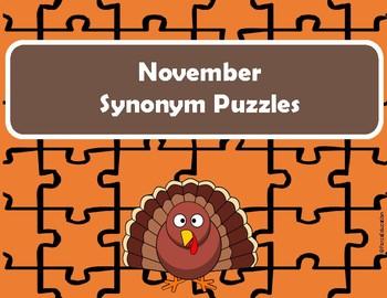 November / Thanksgiving Synonym Puzzles
