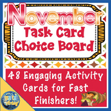 November Thanksgiving Task Card Choice Board for Fast Finishers