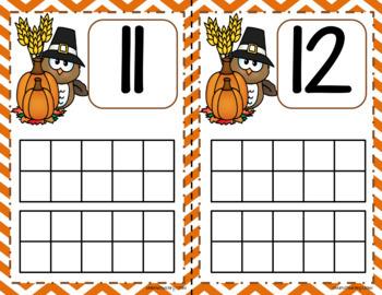 November (Thanksgiving) Ten-Frame Mats Numbers 1-20