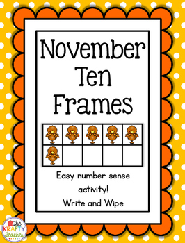 November Thanksgiving Ten Frames, Subsitizing