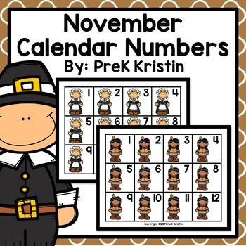 November (Thanksgiving Themed) Calendar Numbers