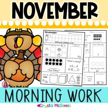 Kindergarten Morning Work! November Thanksgiving Common Co
