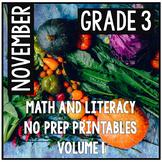 Distance Learning November Thanksgiving Third Grade Math and Literacy NO PREP