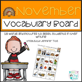 November Vocabulary Board