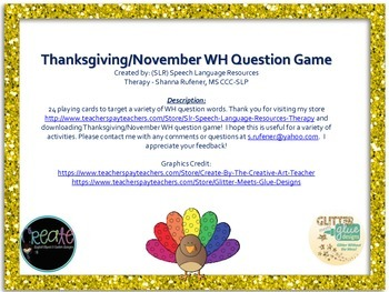 November - Thanksgiving WH question game