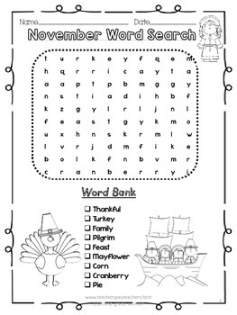 November Thanksgiving Word Search 2 Levels