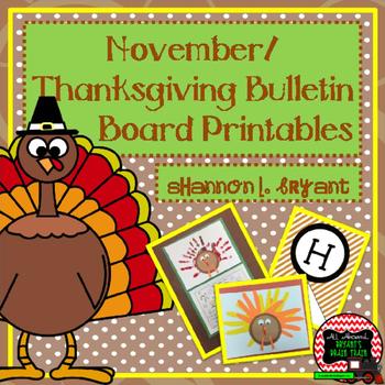November, Thanksgiving, Turkey Bulletin Board Craftivity and Writing Printables