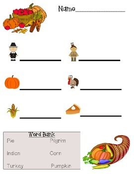 November / Thanksgiving picture labeling printable