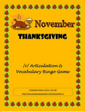November - Thanksgiving /r/ Articulation and Vocabulary Bingo