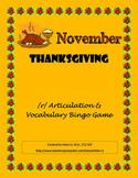 November - Thanksgiving /r/ Articulation and Vocabulary Bingo