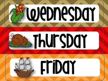 November Thanksgiving-themed Calendar Set in Chevron